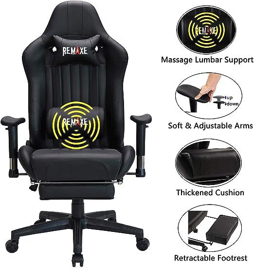 Silla para juegos de PC con reposapiés - Silla reclinable ...