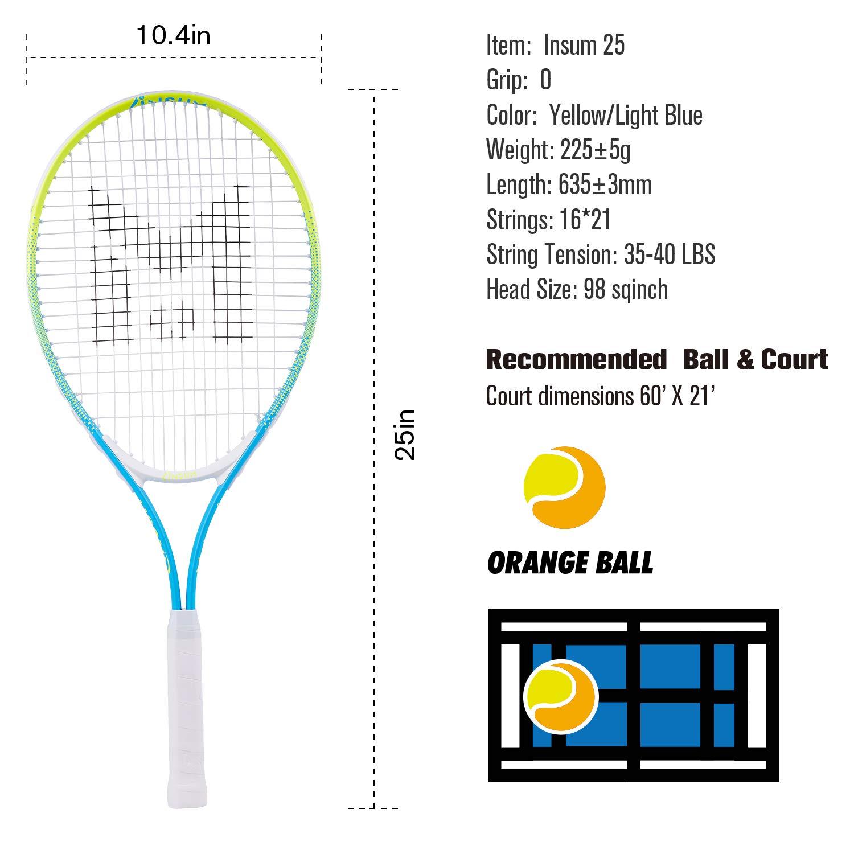 insum Junior Tennis Racquet 25'' Beginner Kids Starter (Ages 9-10) with Shoulder Strap Cover Bag by insum (Image #2)