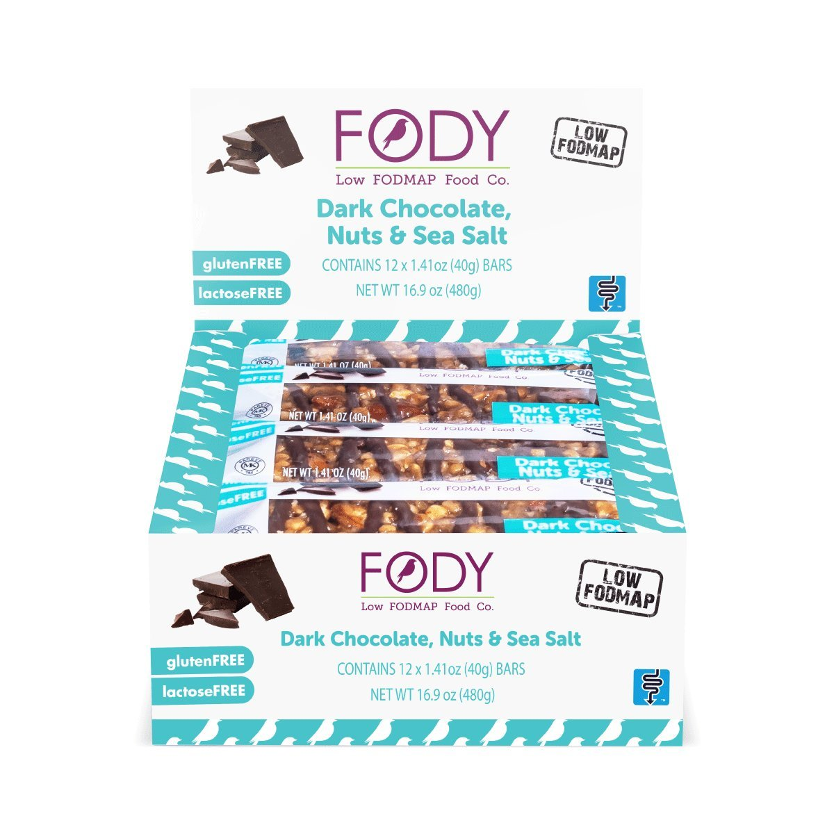 Fody Food Co, Dark Chocolate Nuts & Sea Salt Bars, Low FODMAP and Gut Friendly, Gluten and Lactose Free, 12 Pack of Bars