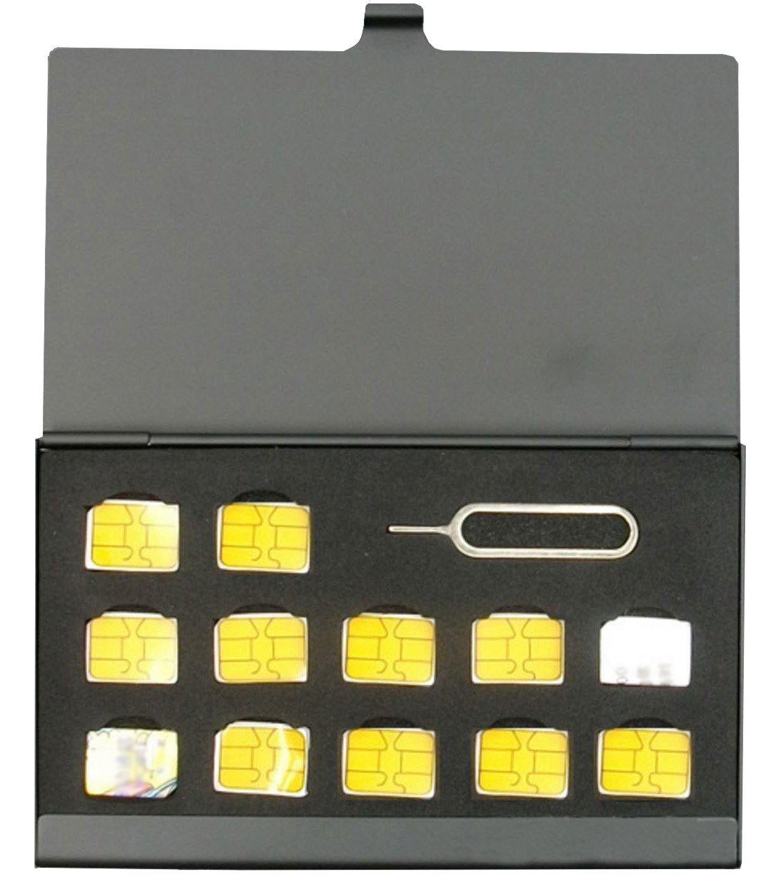 BlueCraft Slim Nano SIM (Max. 12 nano SIM cards) Card Aluminum Holder Case Storage with SIM Card adapters (Black) by BlueCraft