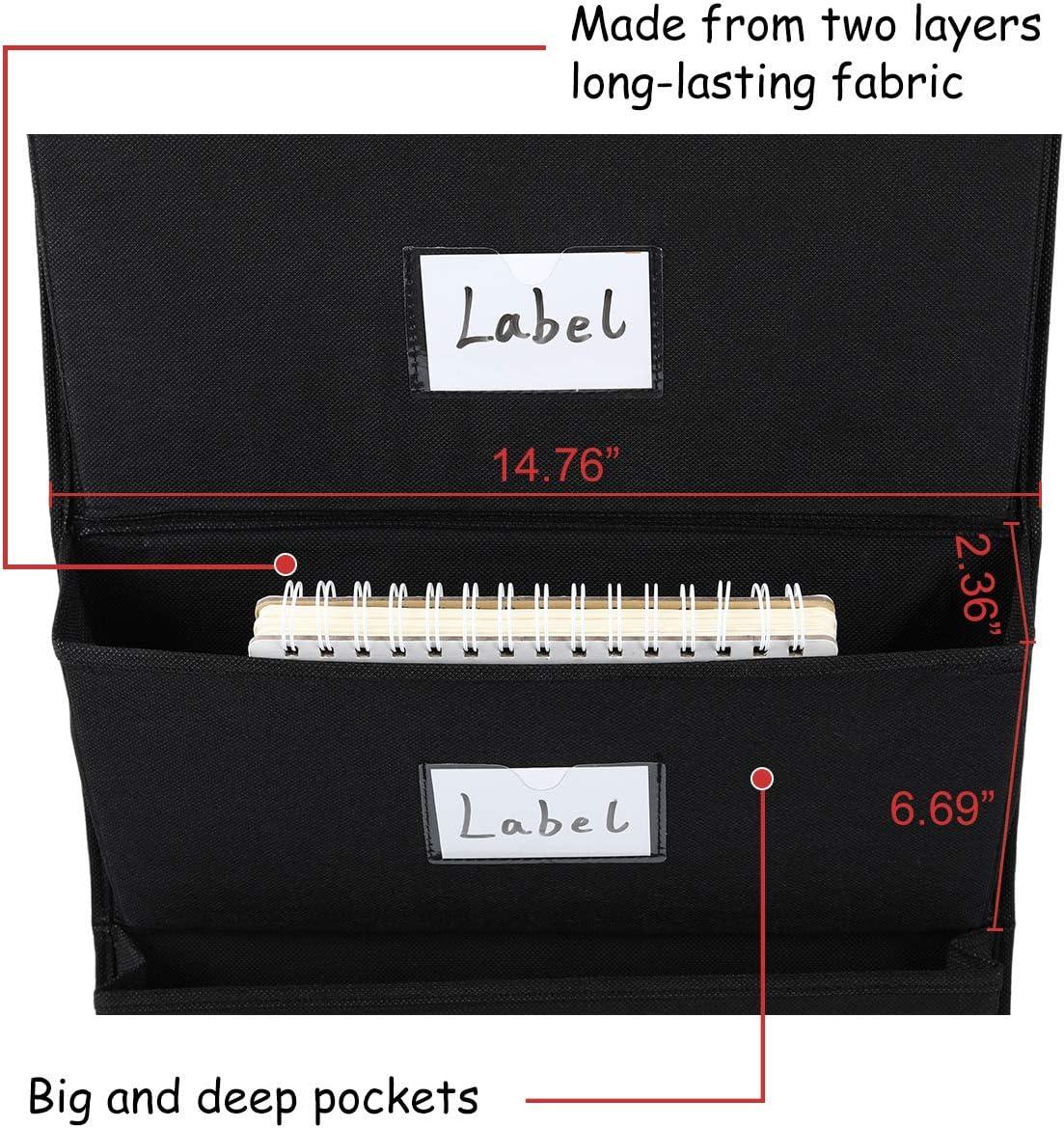 EasyPAG Wall Mount Over Door Organizer Office Supplies 4 Pockets Hanging File Holder Black