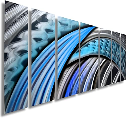 """Typhoon"" Modern Abstract Metal Wall Art Sculpture Blue Purple Multi Panel Painting Home Decor"