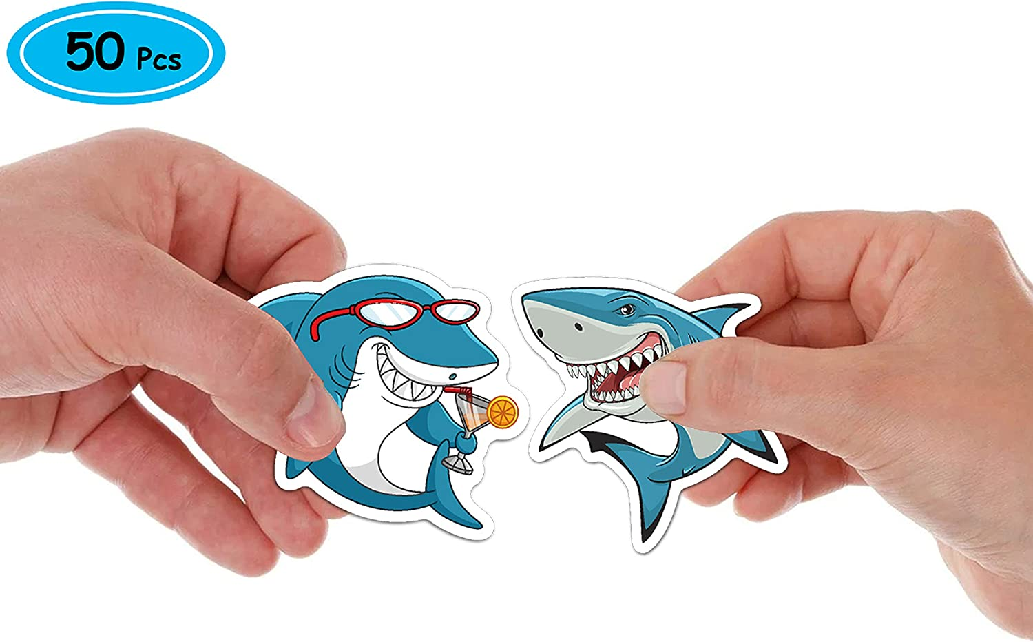 Sharks Sticker,50pcs Ocean Shark Stickers Waterproof,Ocean Adventure Party Supplies for Water Bottles,Laptop Stickers,Cars