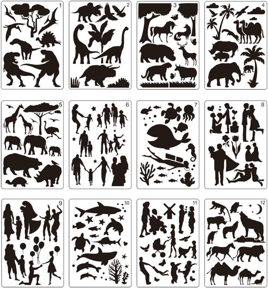 "12 Pcs Large Stencils for Painting Include Love Patterns Painting Stencils, Animals, Plants, People, Marine Life Balloon Children Dinosaur Template(8.2"" x11.6"") DIY Craft Stencils Children"