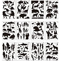 12 Pcs Large Stencils for Painting Include Love Patterns Painting Stencils, Animals, Plants, People, Marine Life Balloon…
