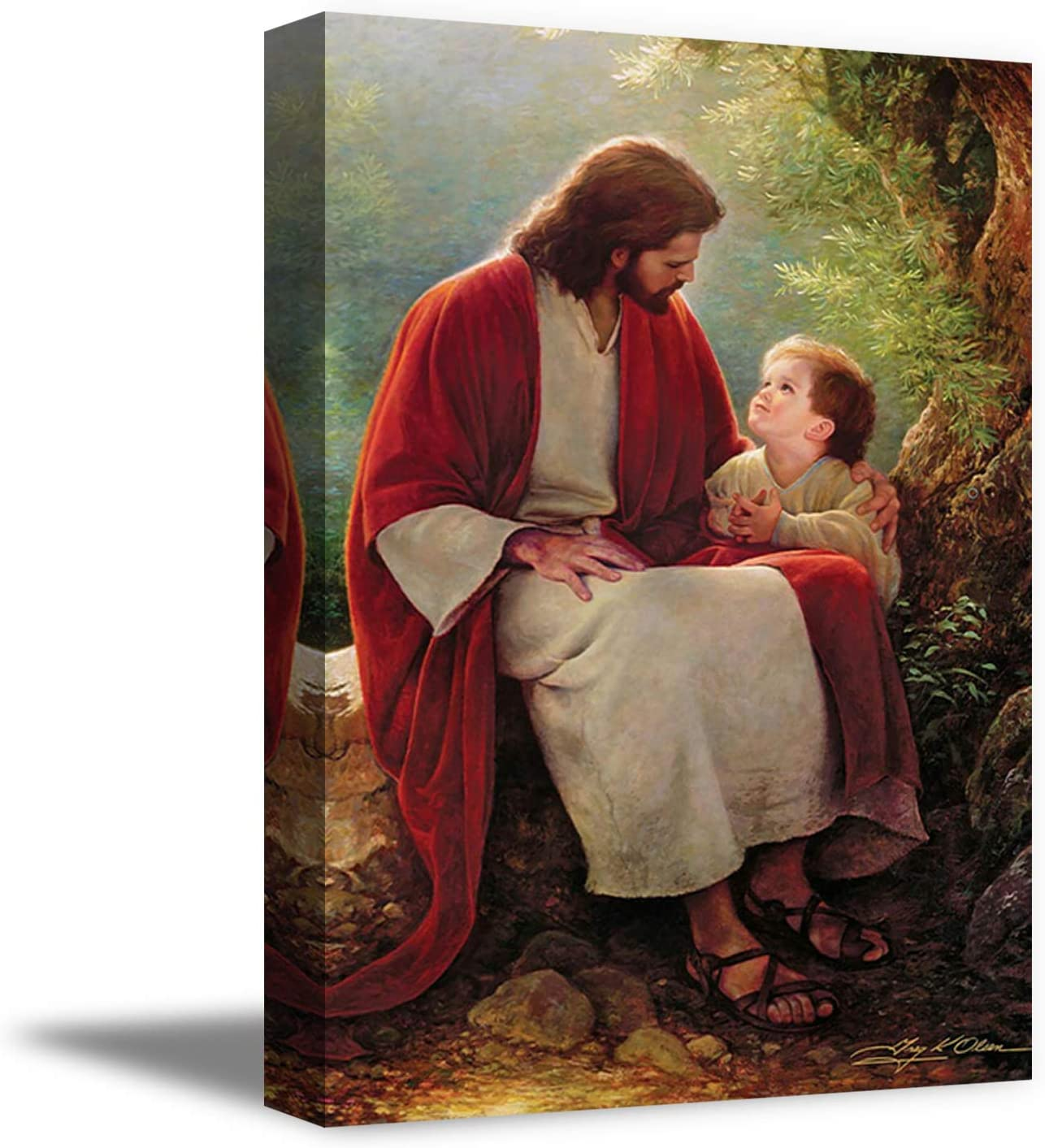 Funny Ugly Christmas Sweater Christian Canvas Wall Art Jesus and Little Boy Home Decor Prints 8