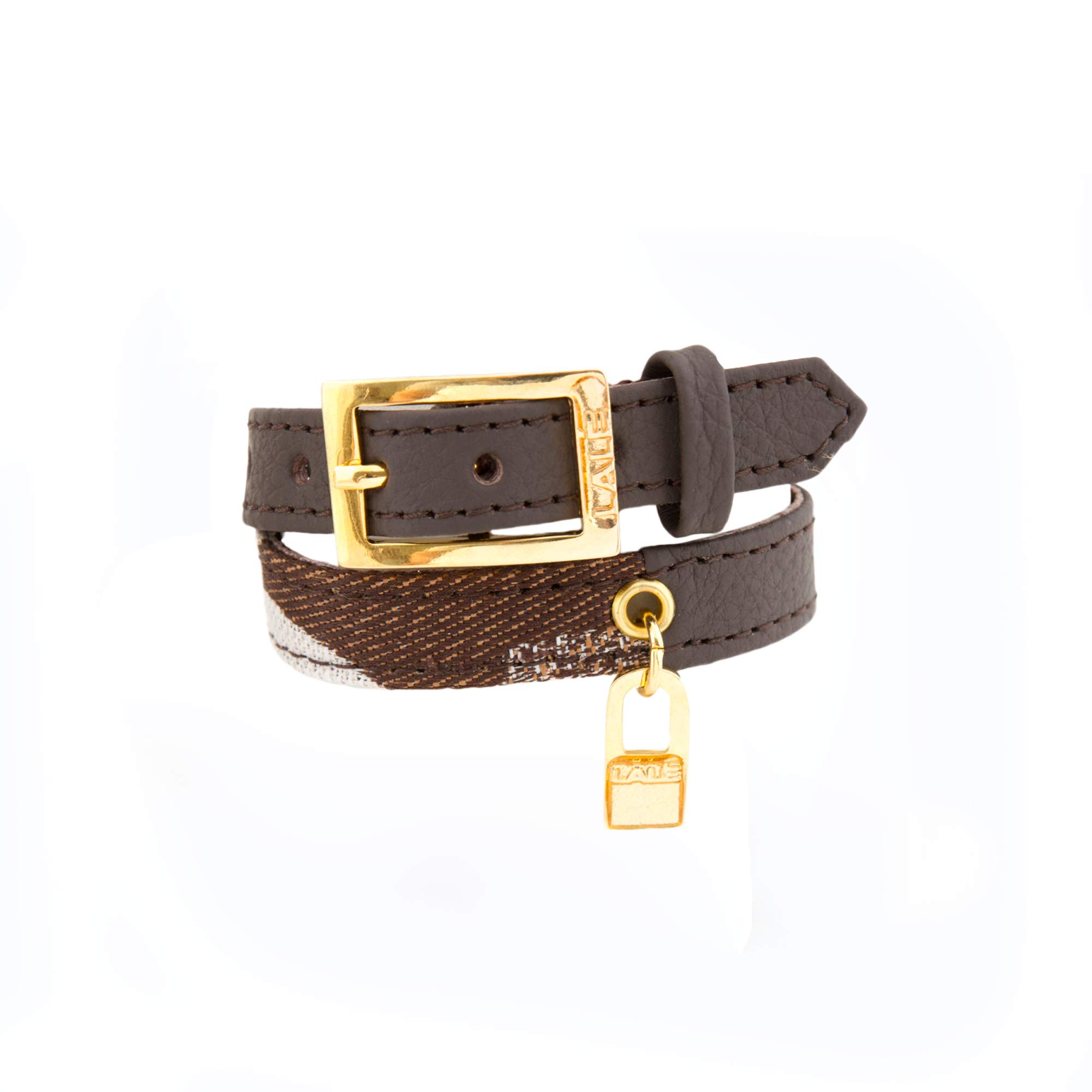 LALÉ Woman wrap Genuine Leather Bracelet | Twists Twice Around The Wrist | Ironwork Plated in Gold Buckle for Closure | Adjustable Size | Handmade Jewelry (Brown, 6.5)
