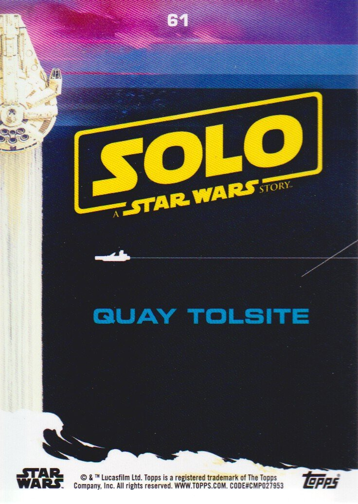 2018 Topps Solo A Star Wars Story Black #61 Quay Tolsite at Amazon's