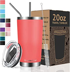 Umite Chef Tumbler Double Wall Stainless Steel Vacuum Insulated Travel Mug with Lid, Insulated Coffee Cup, 2 Straws, for Home, Outdoor, Office, School, Ice Drink, Hot Beverage (Coral Orange, 20 oz)