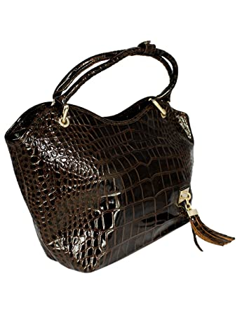 b2851ecba4ba8 Daniela Moda Moc Croc Effect Patent Real Italian Leather Shoulder Bag 45cm  x 27cm x 12.5cm Brown  Amazon.co.uk  Luggage