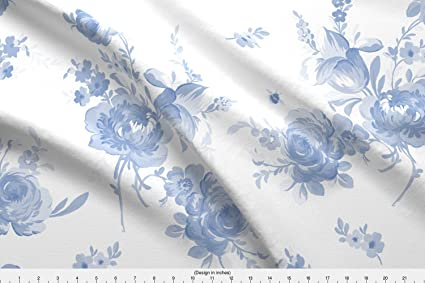 Amazoncom Romantic Floral Fabric Blue And White Shabby Chic