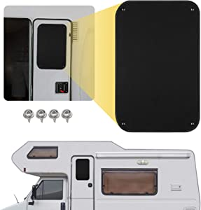 Kohree RV Door Window Shade, 24 x 16 Inch Camper Sunshade Privacy Screen Window Cover, Travel Trailer Motorhome Sun Shade Accessories, Acrylic Blackout Fabric, UV Rays Protection, Waterproof, Black