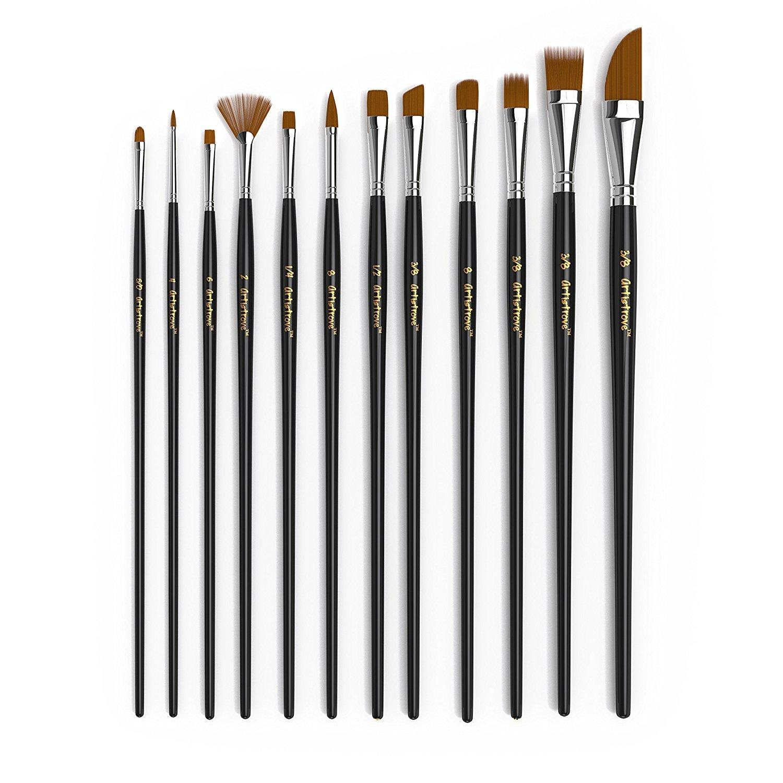 Paor 12PCS pennelli premium nylon pennelli per acquerello acrilico pittura ad olio ideale per pittura su tela, in ceramica, argilla, legno e modelli
