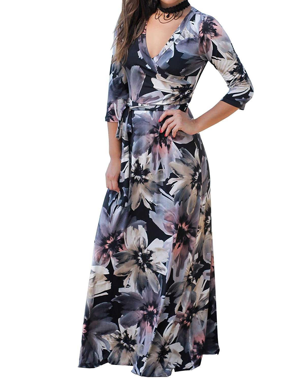 5524425298b Top 10 wholesale Blue Floral Print Wrap Dress - Chinabrands.com
