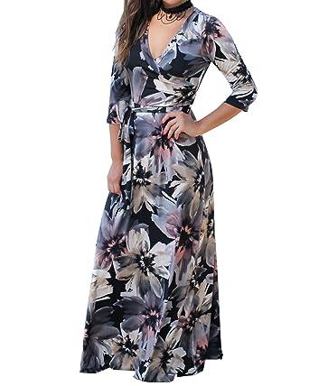 3929d3ecc7 Remikstyt Womens Floral Printed 3 4 Sleeve Empire Waist Floor Length Beach  Casual Maxi Dress