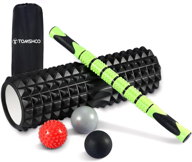 TOMSHOO Rouleau de Massage Kit, Foam Roller + 3 Balles de Massage + Sac de Transport, Rouleaux en Mousse pour Trigger Point Massage Crossfit