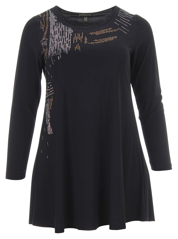 Langarmshirt mit Pailletten in schwarz in Übergrößen (L, M, XL) von Yoek