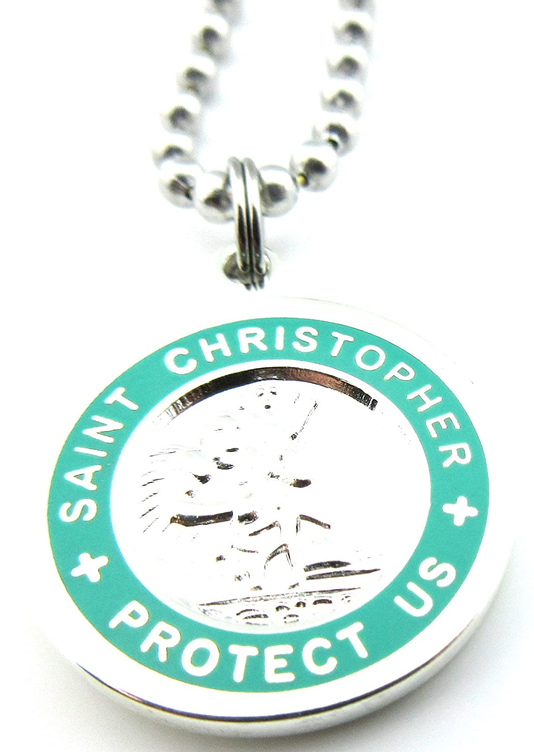 Saint Christopher Surf Medal Pendant Necklace,Silver/Teal SV/TE Medium