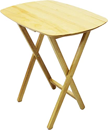 eHemco Oversized Hardwood Folding TV Tray Table, Natural