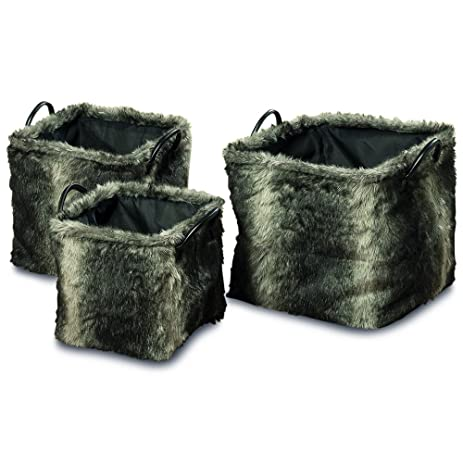 The Tribeca Faux Fur Square Storage Baskets, Gray Ombre, Set Of 3, Black