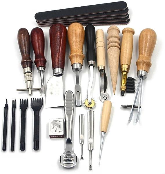 TAOtTAO Kit de costura para manualidades de piel, 18 piezas, estilo vintage: Amazon.es: Hogar