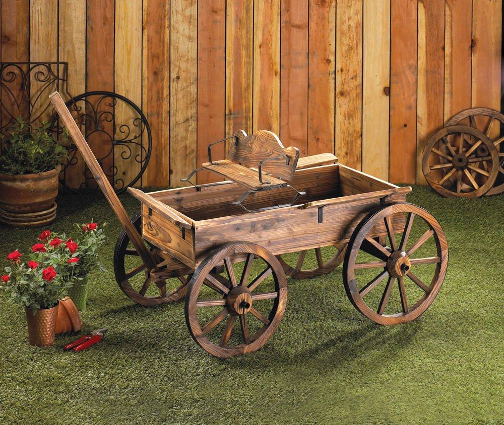 Amazon.com : Buckboard Style Rustic Fir Wood Home Garden Decor Wagon : Yard  Carts : Garden U0026 Outdoor