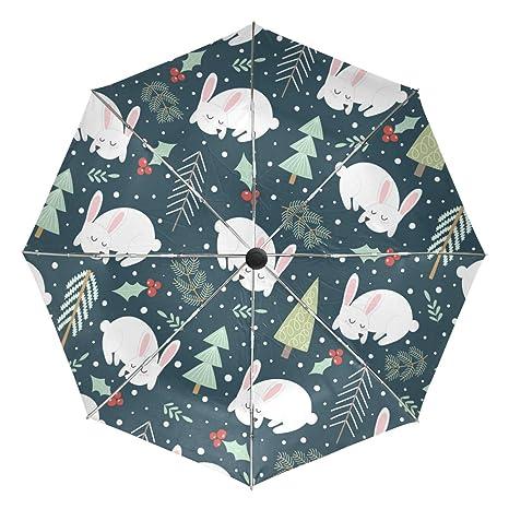 befb3bd10577 Amazon.com: Automatic Umbrella Windproof Travel Folding Winter Bunny ...
