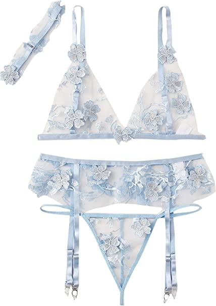 coupon code get cheap first rate SheIn Women's Floral Appliques Mesh Sheer Sexy Garter Lingerie Set with  Choker