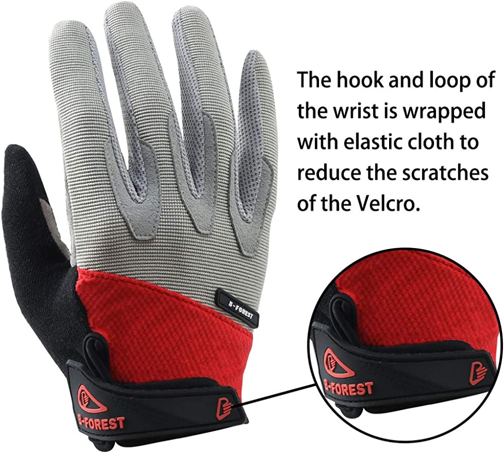 B-Forest Cycling Gloves MTB DH Road Touch Recognition Full Finger Gloves Breathable Gel Pad Shock-Absorbing Anti-Slip for Men and Women