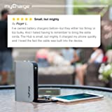 myCharge Portable Charger Power Bank - Hubmax 10050 mAh External Battery Pack | Wall Charger Foldable Plug | Built in Cables