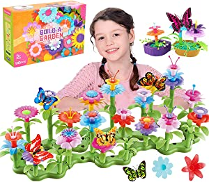 Kyerivs Flower Garden Building Toys 104 PCS Set for Girls Ages 3 4 5 6 7 8, 98 PCS Gardening with 6PCS Simulation Butterfly Creative Educational Garden Building Blocks Kids Toddles Toys