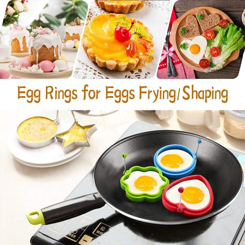 6 Pack Omelettform Pfannkuchenform zum Braten 3 Formen Wiederverwendbare Kochringe in Antihaft-Silikon Lebensmittelqualit/ät f/ür die Pfanne Hitzebest/ändiger /Ölgrill flexibel Senbos Eieringe