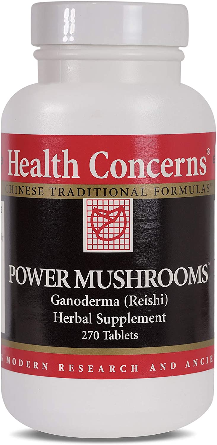 Health Concerns – Power Mushrooms – Ganoderma and Tremella Chinese Herbal Supplement – Enhances Immune Function – with Red Ganoderma Reishi Fruiting Body – 270 Tablets per Bottle