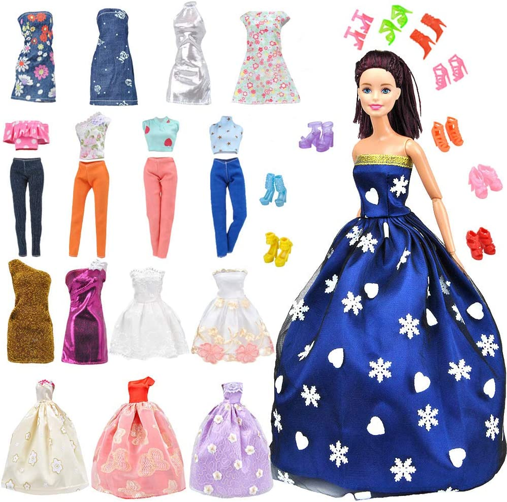 New Handmade Lace For Barbie Gown Shoes Earrings Five Piece Set