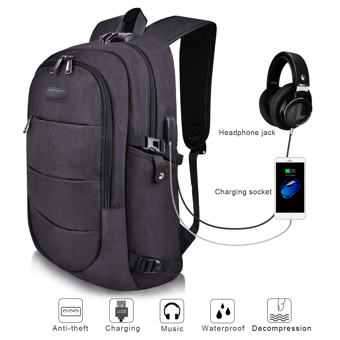 ERAY Laptop Backpack, Business Anti Theft Backpacks with USB Charging Port and Headphone Port fits 15.6 Inch Backpack for Men & Women (15.6'' Upgrade Black)