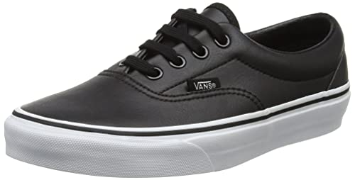 8645fdb5177 Vans Womens Classic Tumble Era Black True White Leather Trainers 8 ...
