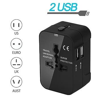 Adaptador Enchufe De Viaje Universal, Efanty Internacional All-in-One integral Travel Adapter Cargador Con Dos 2 puertos de carga USB Para US EU UK AU ...