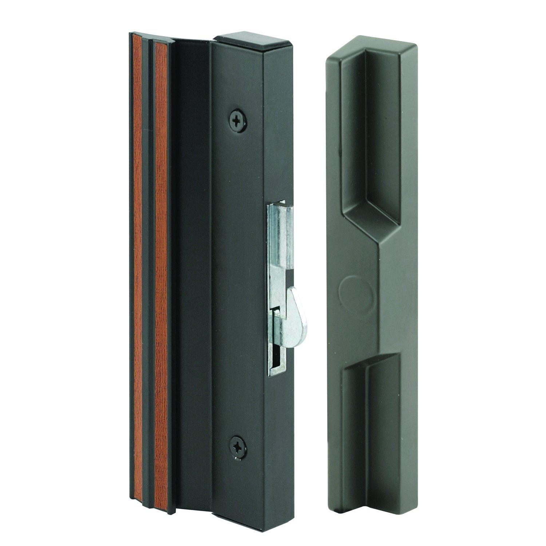 Slide-Co 141752 Sliding Patio Door Handle Set, 4-15/16 in., Extruded Aluminum, Hook Latch, Black w/Wood Grain