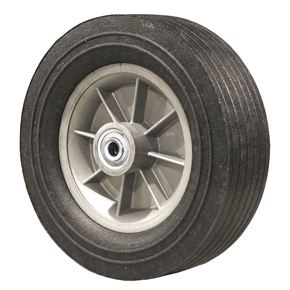 10 Inch Flat Free Hand Truck Tire - Wheel 10'' x 3'' - 2.25'' Centered Hub - 1/2'' Axle Bore - 650 lb