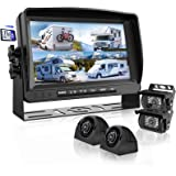 Backup Camera System with 9'' Large Monitor and DVR for RV semi Box Truck Trailer Rear and Side View Quad HD Camera 4 Split S