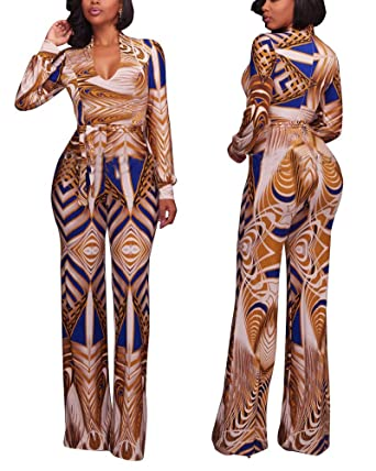 a65b5b30fe49 Image Unavailable. Image not available for. Color  Gamery Women s Fall V  Neck Wide Leg Long Pants Plus Size Jumpsuits Rompers Outfits with Sleeve