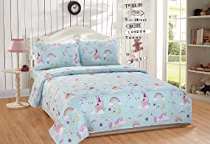 Elegant Homes Multicolor Aqua Blue Purple Castle Princess Unicorn Rainbow 4 Piece Printed Sheet Set with Pillowcases Flat Fitted Sheet for Girls/Kids/Teens # Unicorn Blue (Queen Size)