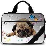 AUPET 11 11.6 12 12.5 12.9 13-13.3 inch Canvas Laptop Sleeve Bag Carrying Messenger Bag Briefcase with Handle and Adjustable Shoulder Strap & External Side Pocket,For ASUS/HP/DELL/Acer (Cute Pug)