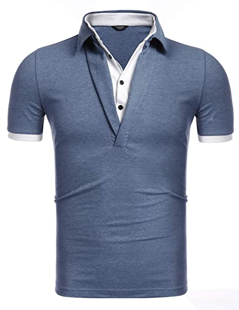 4681fbe2399 COOFANDY Mens Casual Slim fit Cotton Jersey Long Sleeve Polo Shirt Golf T  Shirts