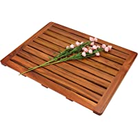 "Utoplike Teak Wood Bath Mat, Shower Mat Non Slip for Bathroom, 24""x18"", Wooden Floor Mat Square Large for Spa Home or Outdoor"