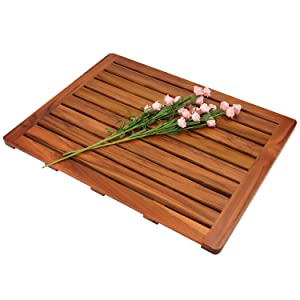 "Utoplike Teak Wood Bath Mat, Shower Mat Non Slip for Bathroom, 24""x18"", Wooden Floor Mat Square Large for Spa Home or Outdoor"
