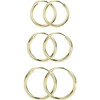 Milacolato 925 Sterling Silver Polished Endless Hoop Earrings for Men Women 13mm/15mm/18mm