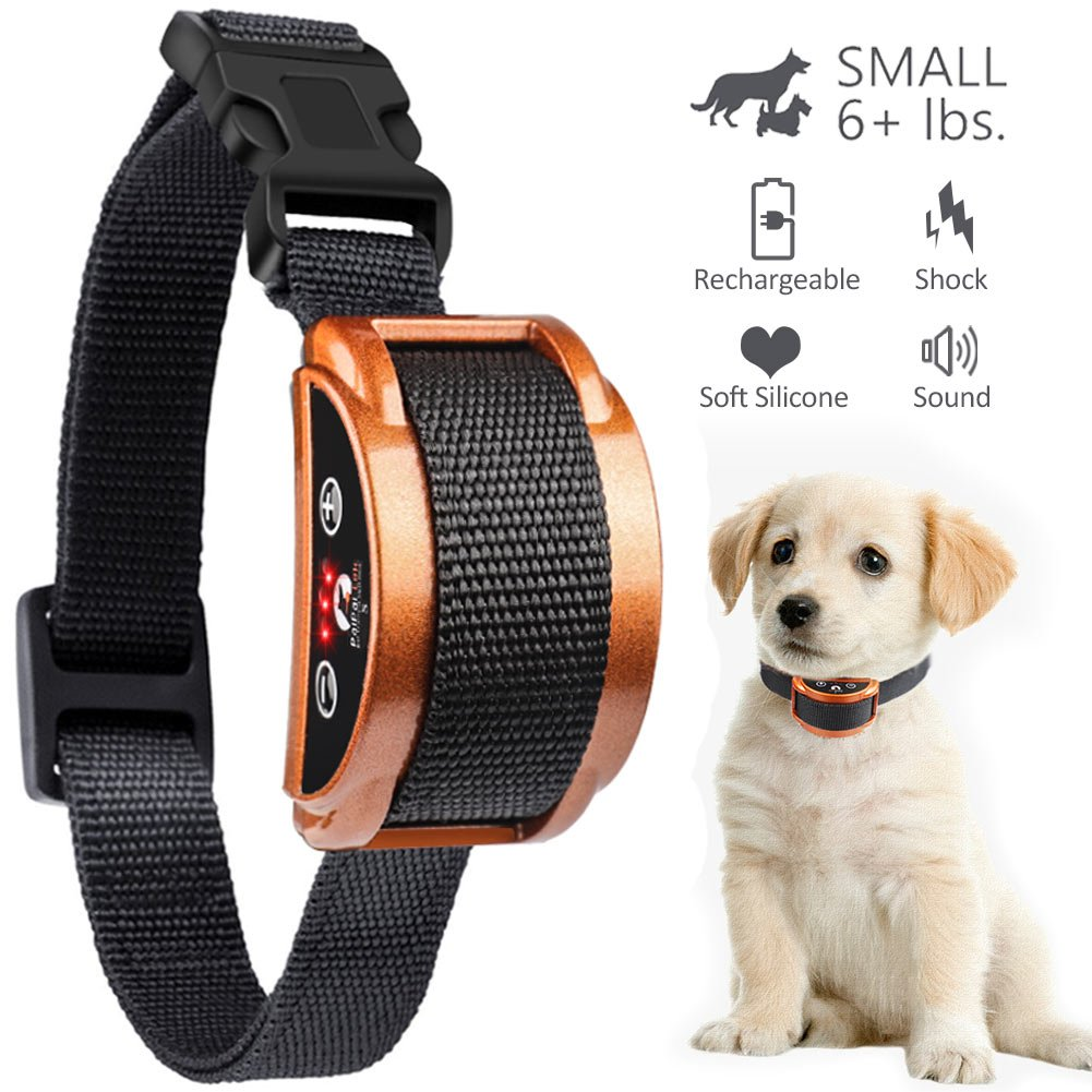 Paipaitek [Upgraded 2018] No Bark Collar - Best Rechargeable Anti-Barking Shock Control with 5 Levels Automatic Bark Collar for Small Medium Large Dogs Electronic Safe Stop Bark (6+lbs) (Anti bark)