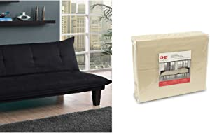 DHP Lodge Convertible Futon Couch Bed, Black and Futon Sheet Set, Beige