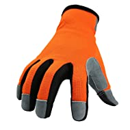 OZERO Work Gloves with Genuine Deerskin Leather Palm and Sensitive Touch Screen Fingertips - Breathable and Snug-fit for Work, Gardening, DIY, Mechanics - Women (OrangeRed,X-Large)